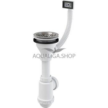 Сифон для мойки с нержавеющей решёткой d115 и гофропереливом d50/40 AlcaPlast A447-DN50/40