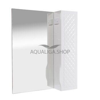 Зеркало Аквародос Родорс 65 см без подсветки, с пеналом справа АР0000420