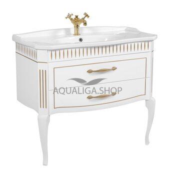 Мебель Аквародос Рояль белая патина золото с умывальником Роял 100 см АР0002686