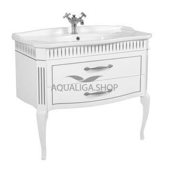 Мебель Аквародос Рояль белая патина хром с умывальником Роял 100 см АР0002760