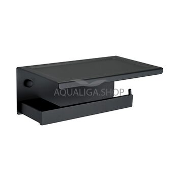 Держатель для туалетной бумаги черный с полочкой ASIGNATURA Unique 85606802