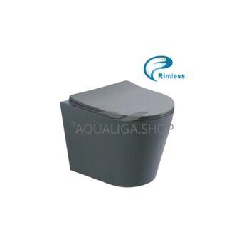 Унитаз подвесной Rimless с сиденьем серый матовый ASIGNATURA Axiom 97802806