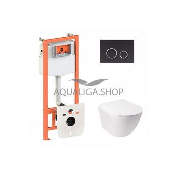 Набор Qtap инсталляция 3 в 1 Nest QT0133M425 с панелью смыва круглой QT0111M11V1146MB + унитаз с сиденьем Jay QT07335176W