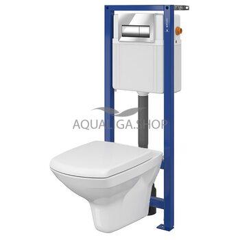 Комплект инсталляция Cersanit Aqua 02 хром+ унитаз Carina Clean On Soft Close S701-392