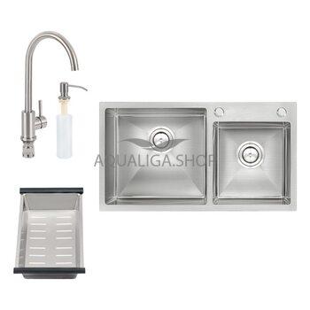 Кухонная мойка двойная QT S7843 SET Satin + смеситель + сушка + диспенсер QTS7843SET