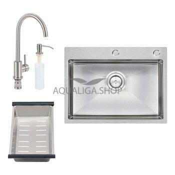 Кухонная мойка Qtap D6045 SET + смеситель + сушка + диспенсер QTD6045SET
