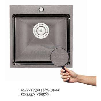 Кухонная мойка Qtap D5050BL 2.7/1.0 мм QTD5050BLPVD10