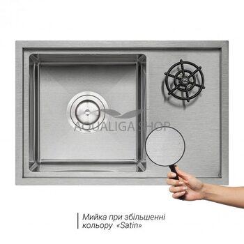 Кухонная мойка с крышкой и омывателем Qtap DC5638 Satin 3.0/1.2 мм QTDC56383012