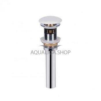 Донный клапан для раковины Qtap PU02O WHITE с переливом QT066PU02OW