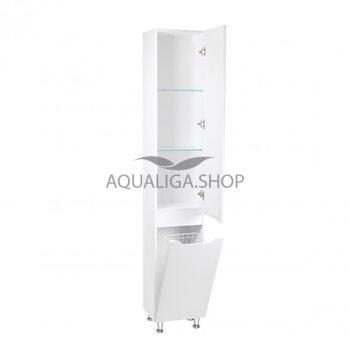 Пенал напольный Qtap Scorpio 35 см White с корзиной для белья QT1475PN1901KRW