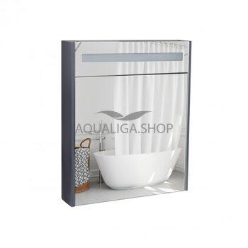 Зеркальный шкаф Qtap Robin 600х730х145 Graphite с LED-подсветкой QT1377ZP6002G