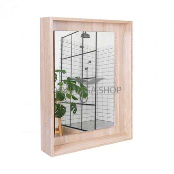 Зеркальный шкаф Qtap Pisces 600х800х140 Whitish oak с LED-подсветкой QT2577ZP6003WO
